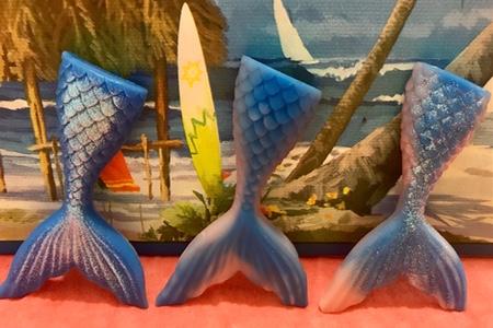 6  Wax mermaid tails