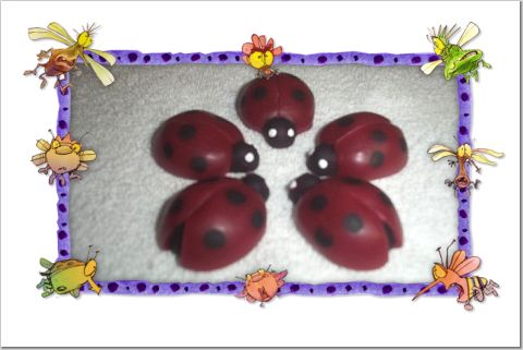6 Wax Ladybugs