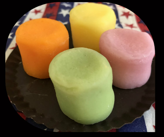 12 Wax large colored marshmallows